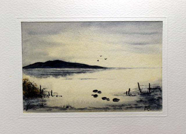 Greeting card painting of a Atmosheric view over still water on the Scottish hills by a watercolour artist