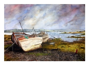 watercolour painting of a shipwreck on the Isle of Mull, watercolor paintings, original art, original watercolour paintings, original watercolor paintings, watercolour painting, watercolor painting, watercolour paintings for sale, watercolours, watercolour, watercolors, watercolor, original, art, arts, galleries, gallery, artwork, artworks, painting, pictures, art galleries, commissions, online ordering