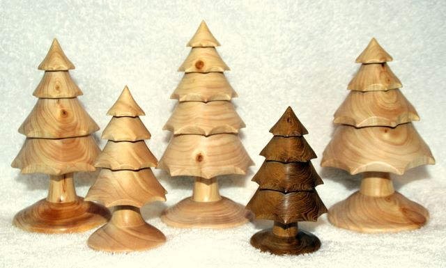 Woodturning - Christmas Trees hand turned and carved