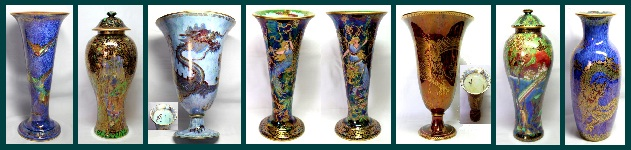 allansart-wedgwood-wedgwood fairyland lustre, Butterfly Women Vase, Humming Bird Vase, Jewelled Tree Lidded Jar, Dragon Lustre Trumpet Vase,Rainbow Lidded Jar,Blue Dragon Lustre Vase.