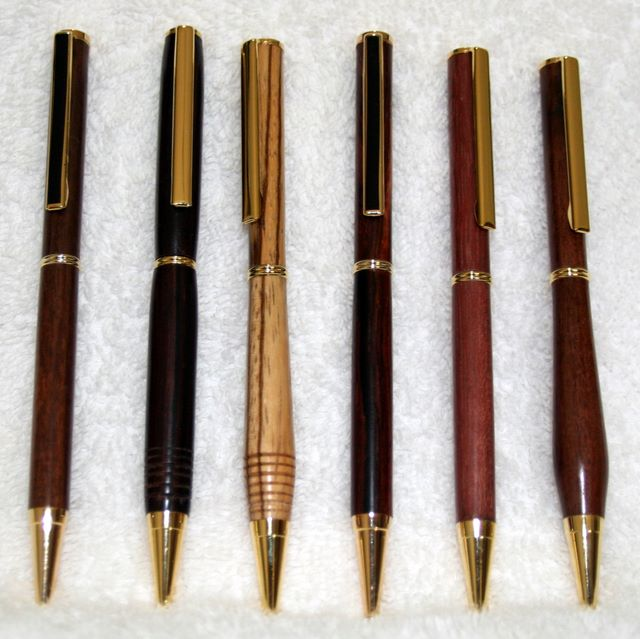 Pen set hand turned in tropical wood